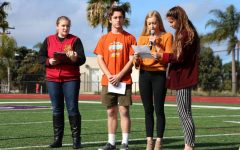 Students walk to the football field during the National Walkout to honor the victims of the Florida shooting. Hundreds of students participated in peaceful protest, including Democrat Club president, senior Dillan Krichbaum (second to left).