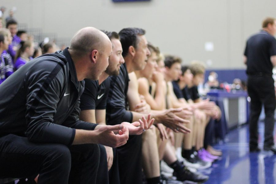 Carlsbad basketball coaches sit down and observe the CIF final game. Carlsbad lost in triple overtime to Mt. Miguel.