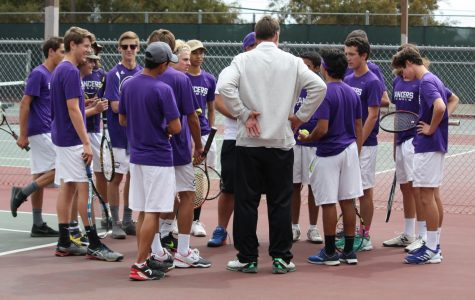 Varsity Coach Clayton and Junior Varsity Coach Ed talk to the Varsity Boys Tennis team pregame. Carlsbad High played Ramona High School in the CIF quarterfinals Wednesday, May 2. The Lancers went on to beat Ramona. The next day, Thursday, May 3 the Lancers beat Sweetwater in the semifinals to move on to the CIF final Friday at Balboa Tennis Complex.
