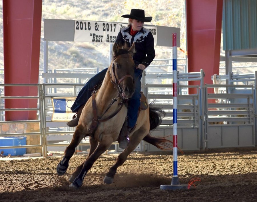 Sophomore Juliane Balog competing with his horse Koda. Balog competes in the California Highschool Rodeo.