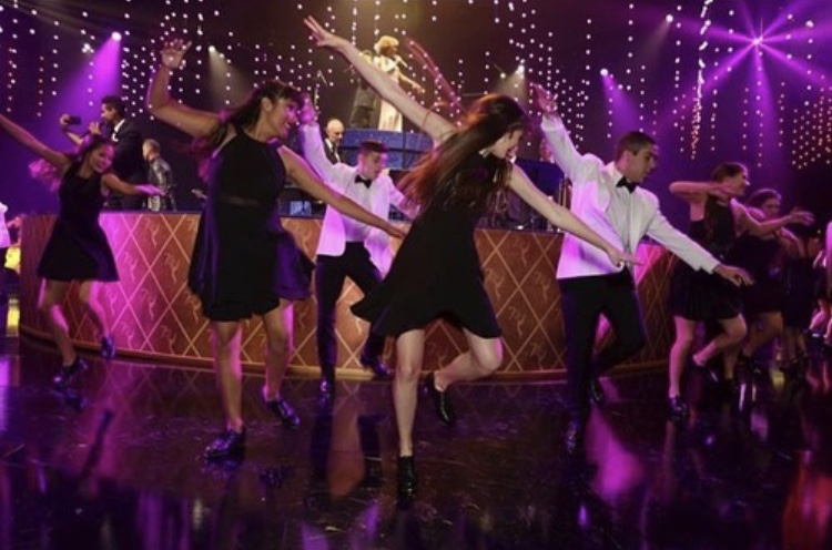 Hollander (back left corner) and other Reverb Tap Company members entertain the Emmys Governors Ball guests by dancing to