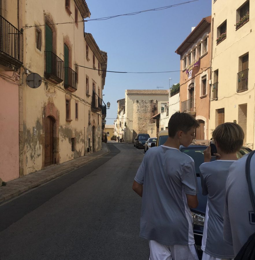 While visiting Altafulla, Spain, the players walked through the streets to truly experience the culture of the city. (Courtesy of Caleb Kawano.)