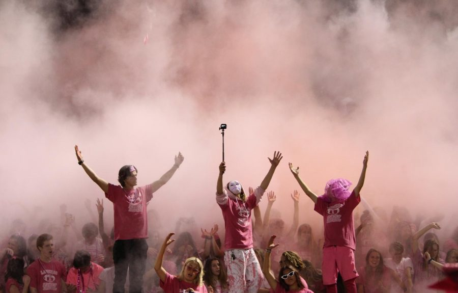 To celebrate the 17-7 lead towards the end of the 4th quarter, Loud Crowd celebrates by throwing powder.