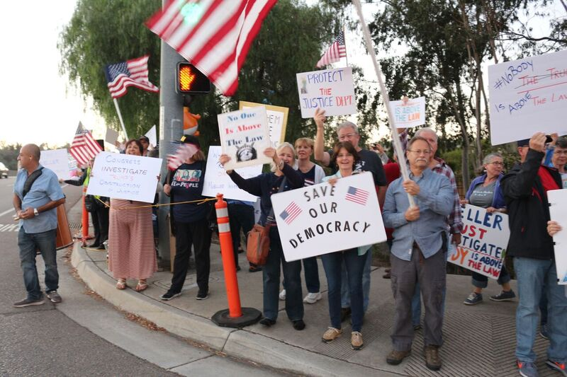 BRIEF: Protests against forced removal of Attorney General Jeff Sessions organized overnight in Carlsbad