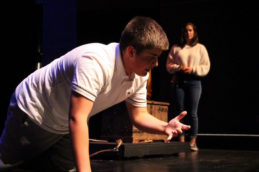 Junior Jordan Valverde rehearses for the school play. He plays a drunken pirate.