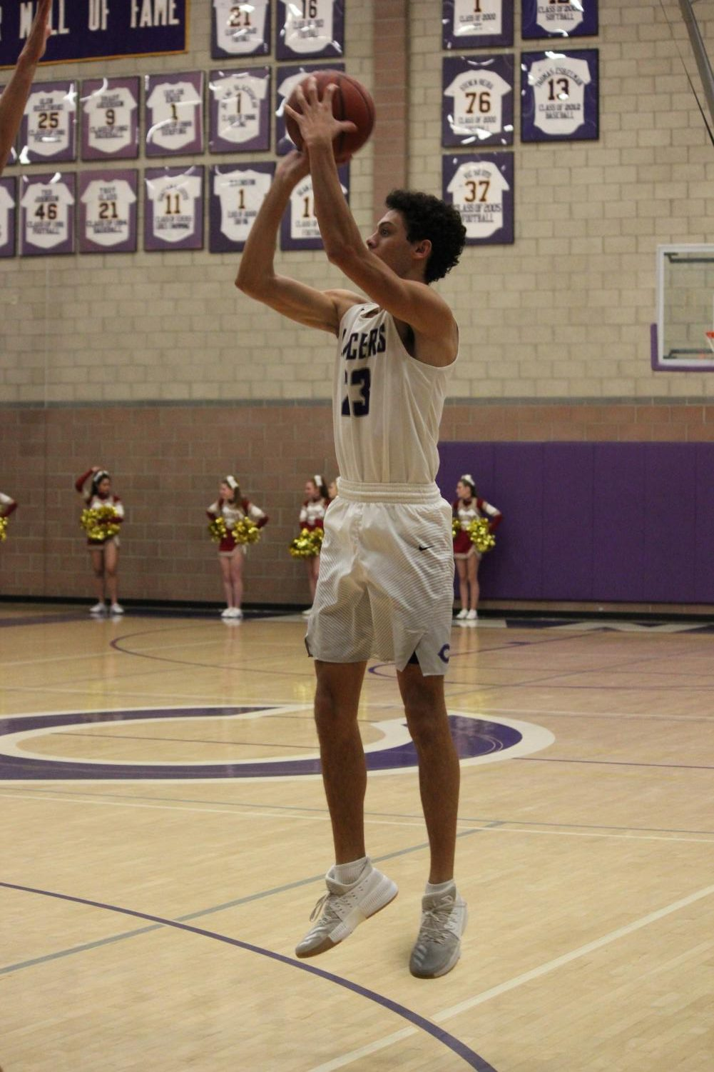 Senior Carter Plousha goes up for the shot. The Lancers are 24-6 on the season and play Bonita Vista on Feb. 20 at 7 p.m. in the Lancer Arena.