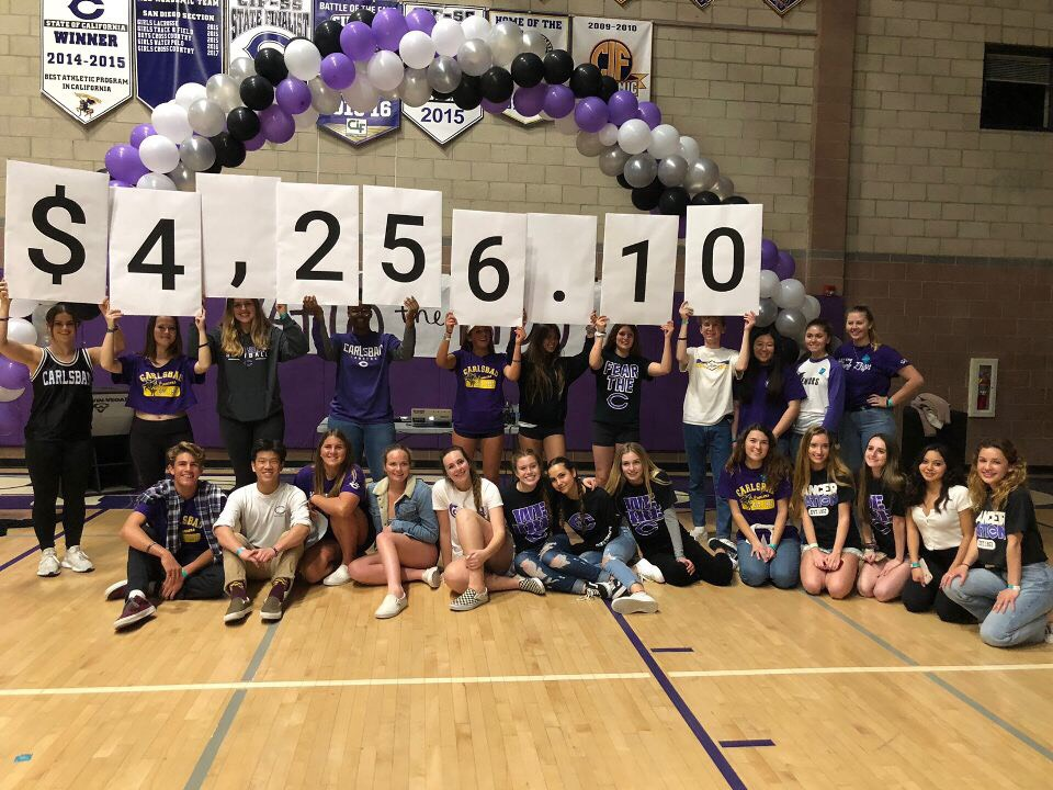 Students proudly hold up the amount of money they have raised in one night.