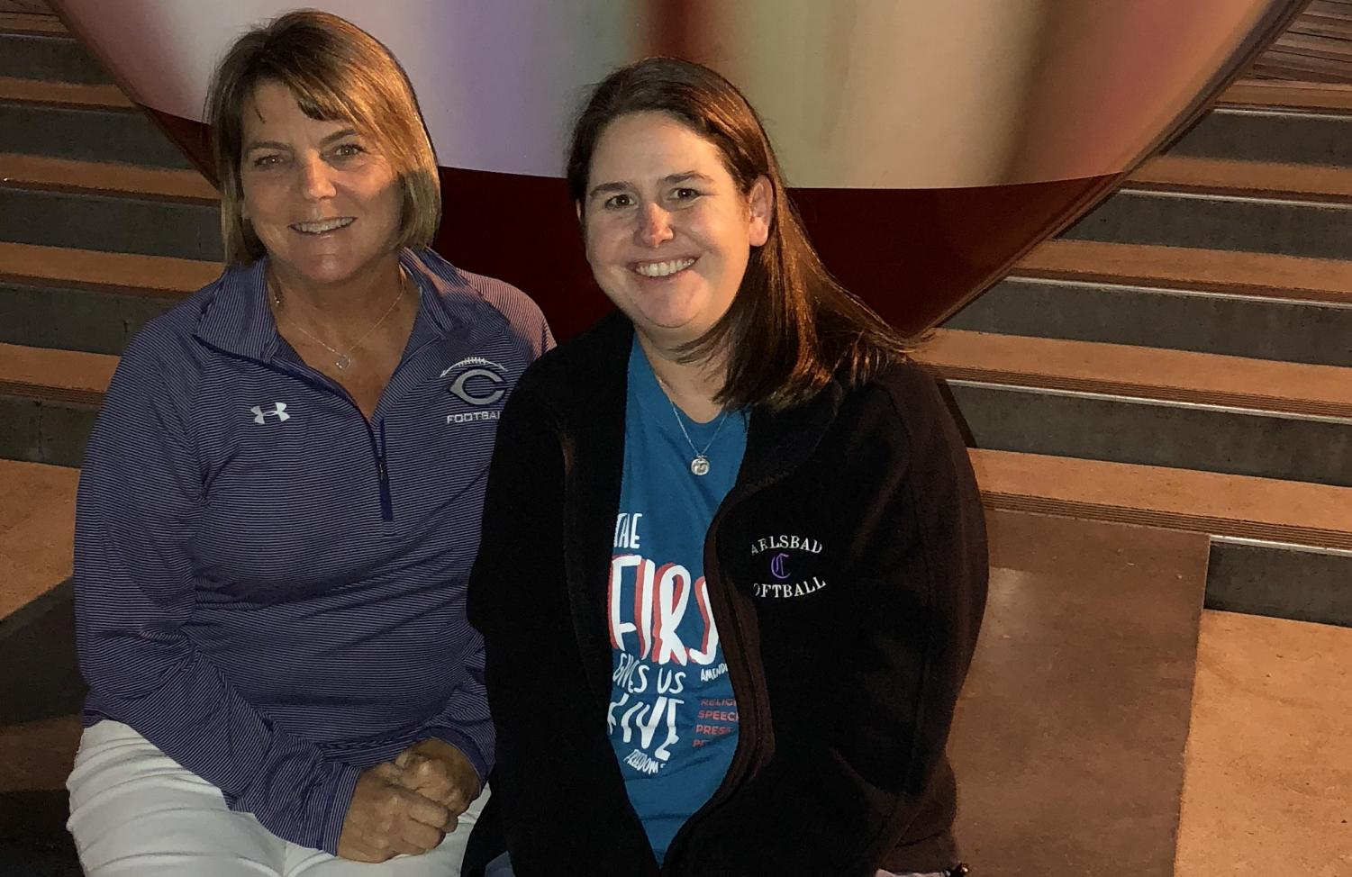 Journalism teacher Mrs. Ryan (right) and school administrator Mrs. Redfield (left) pose for a picture at the spring Journalism Education Association convention in San Francisco, CA. Mrs. Ryan supervised her students and Mrs. Redfield chaperoned.