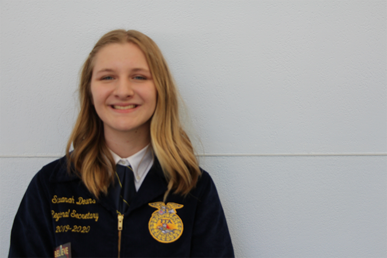 Sophomore Savanah Downs gets ready to participate in the 2019 Future Farmers of America State Convention. This event was held from April 24-28.