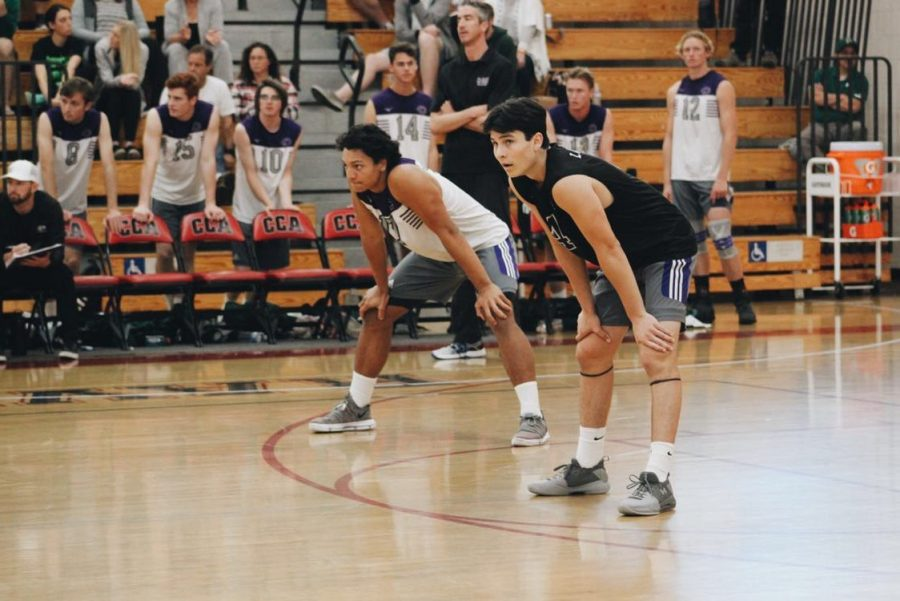 Senior Duke Paane and Junior Derick Valdez get ready to return a serve.  The game was incredibly close with Poway winning in the fifth set 16-14.