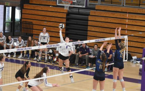 Sophomore Megan Corona hit the ball in order to score a point for the team in the second set. Carlsbad ended up winning against La Costa Canyon in the third set with incredible upset victory.