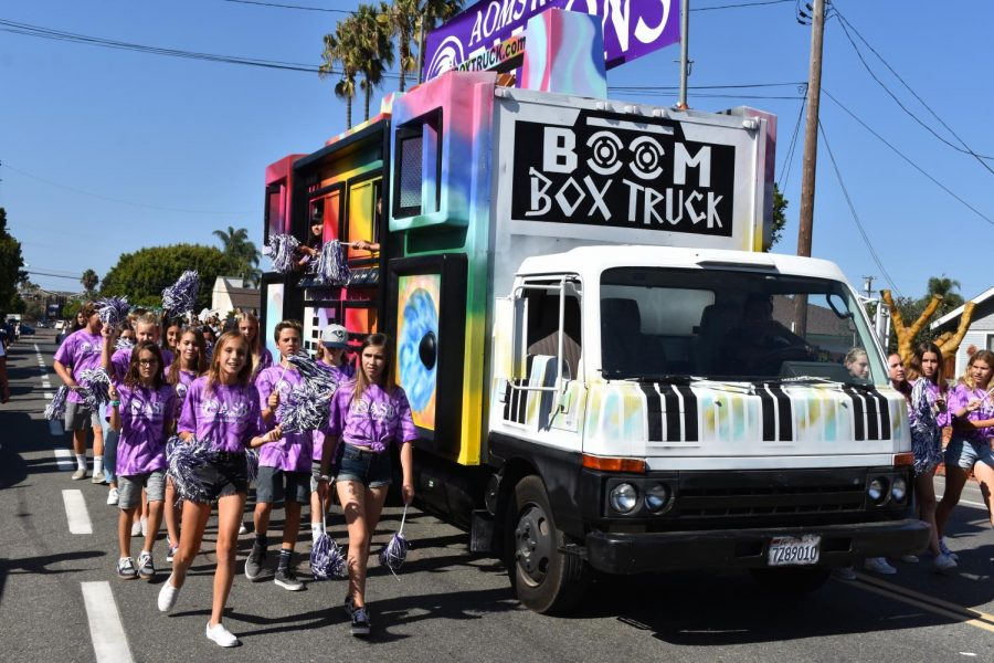 Aviara Oaks Middle School blasts music from their boom box truck. Aviara Oaks was one of the three  middle schools to participate in the parade.