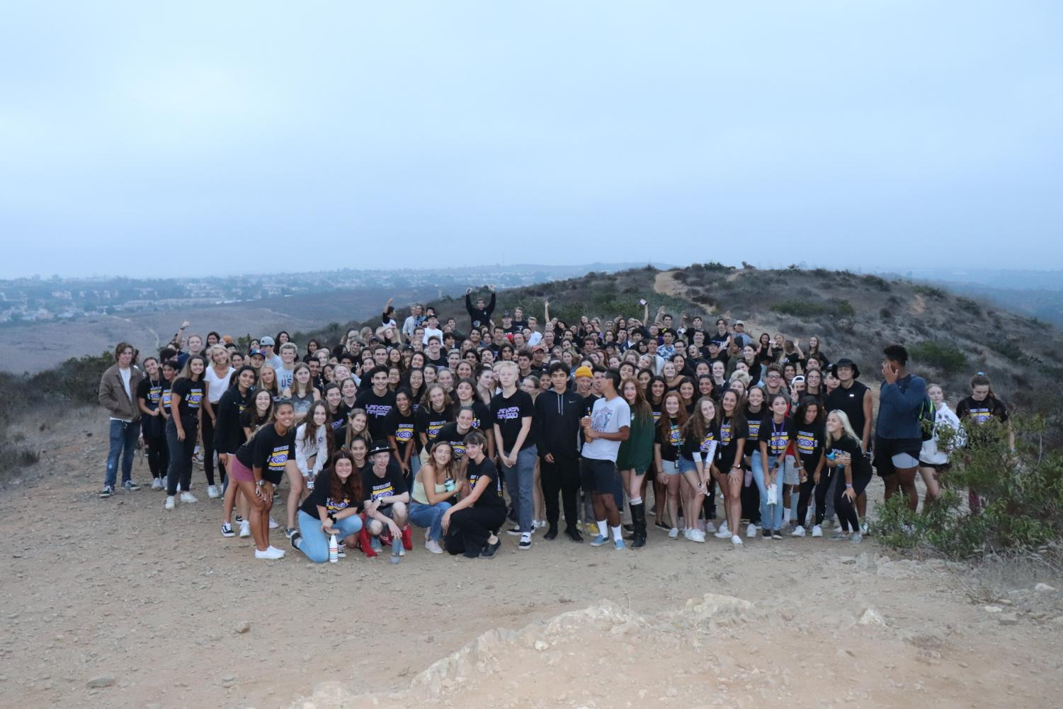 The class of 2020 at Senior Sunrise. This annual event conists of the senior class viewing the sunrise from the top of Calavera Mountain. Photo courtesy of Hailey Rutter.