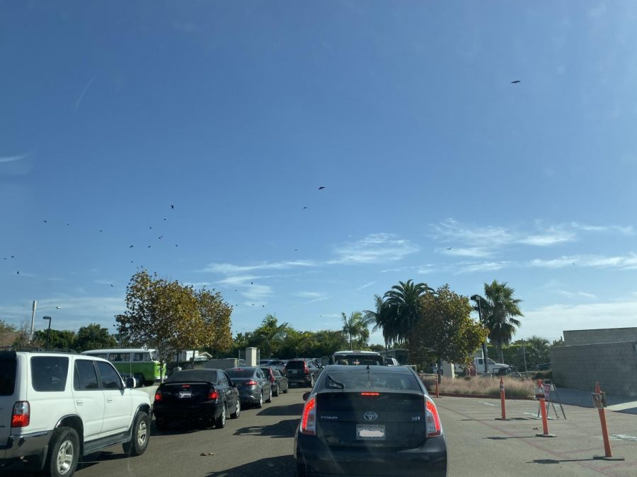 Parking lot lines back up everyday, causing a delay in leaving campus for lunch.