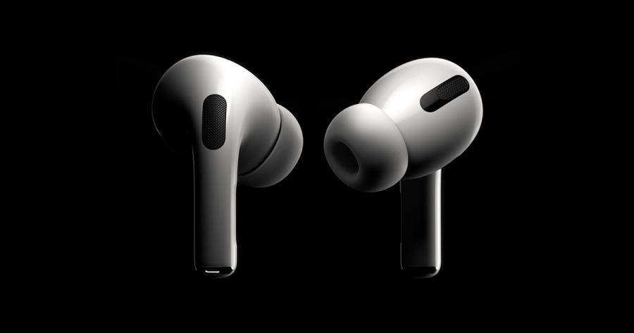 The new, slimmer Airpods Pro design.