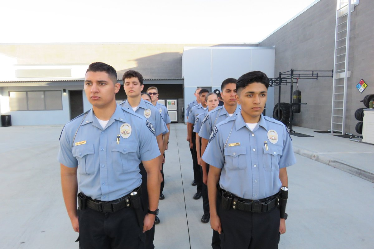Police Explorers standing in line for the program.