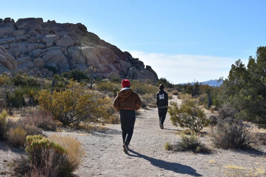 Seniors Alyssa Miller and Lucas Rood explore the desert. In  the park visitors are free to explore and climb the various boulder formations.