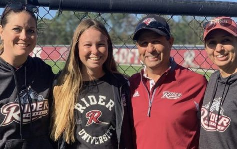 Senior Kennedy Jarrard with the coaching staff at Rider University in New Jersey. Jarrard has committed to play short stop for the east coast school.