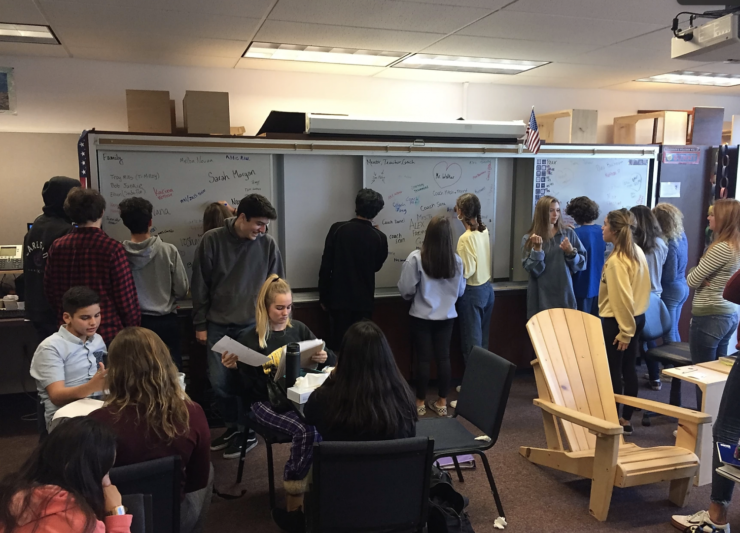 Thompson's students find and discuss thematic ideas in their books during an interactive class discussion.