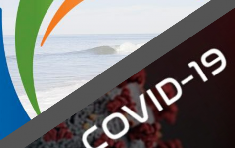 City of Carlsbad emblem (left) pictured with COVID-19 image from cdc.gov