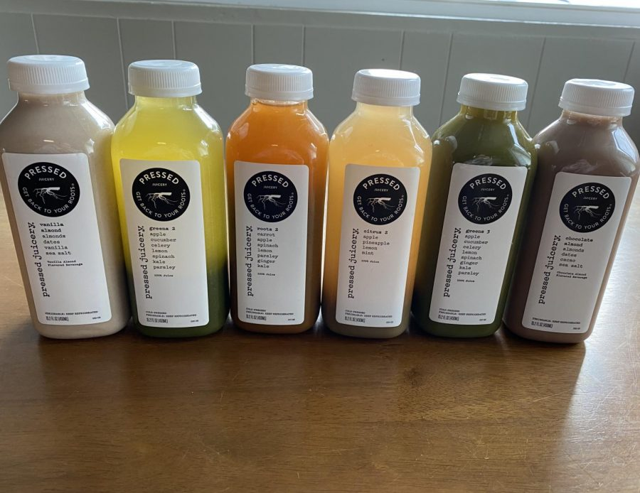 In this photo, all six juices are shown in the order which they are reviewed.