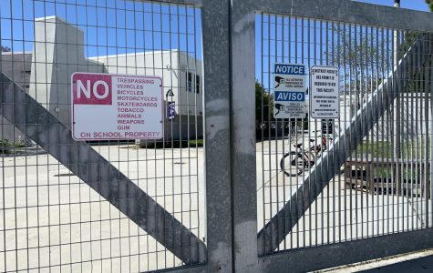CHS gates are locked and the campus is empty due to the coronavirus pandemic. Photo by Danielle Ryan.