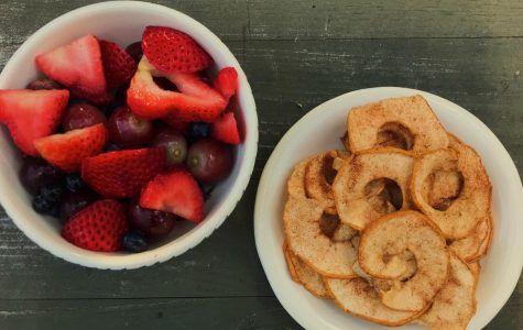 The Fruit Bowl and Cinnamon Sugar Dried Apples. These snacks can be made quickly with  common household ingredients.