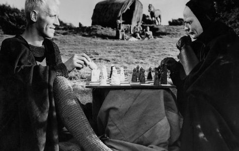 Knight Antonius Block plays Death in a game of chess in Ingmar Bergman's