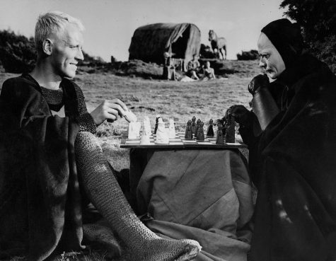 Knight Antonius Block plays Death in a game of chess in Ingmar Bergman
