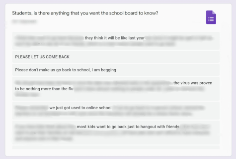 A photo illustration of a few comments from The Lancer Links school-wide survey on the impending return to school.