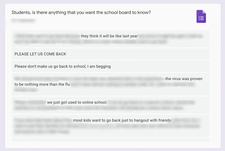 A photo illustration of a few comments from The Lancer Link's school-wide survey on the impending return to school.