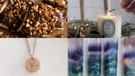 The Carlsbad small business holiday gift guide features local shops Aura Candles, The Four Lunas, Village Rock Shop and Stamped at the Sea.
