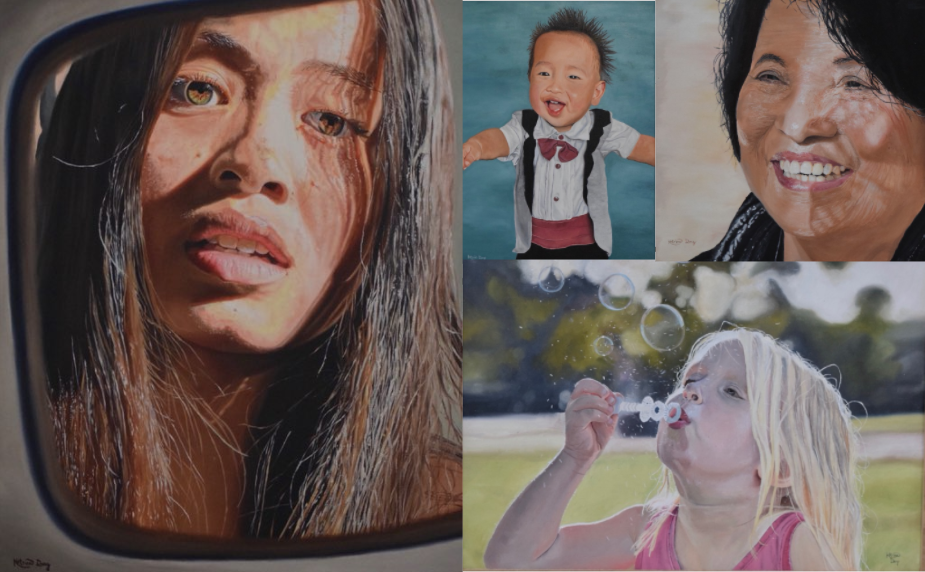 Some portraits of family and friends painted by Dang. All of these paintings are commissions except for Dang's self portrait (left painting).