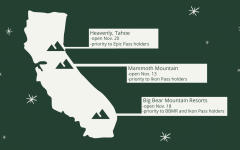 A depiction of where some of California's most popular ski and snowboard hubs are located.