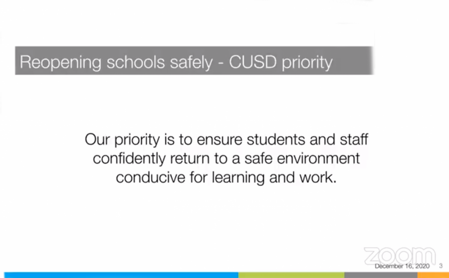 Graphic taken from the Superintendent's presentation from the Wednesday Dec. 16 school board meeting.