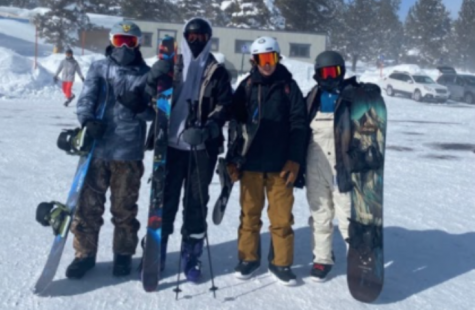 Sebastian Rangel, Matthew Idris and friends on a ski trip to Mammoth. Photo by Shuny Sanie.
