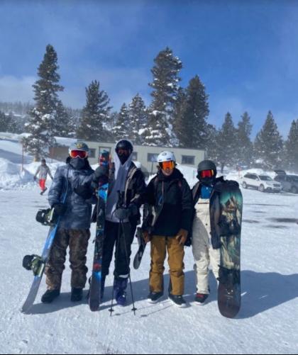 Sebastian Rangel, Matthew Idris and friends on a ski trip to Mammoth.
