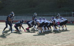 Carlsbad JV quarterback Wesley Johnson, ready to receive the snap.