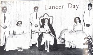 The first Lancer day in 1958 with queen Judy Collins and her princesses Natalie Vermilyea, Betty Bowman, and Jeannette Gastelum.