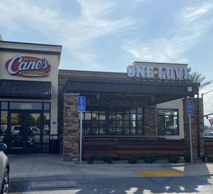 Displayed above is the new Canes located off of Las Posas Road in San Marcos.