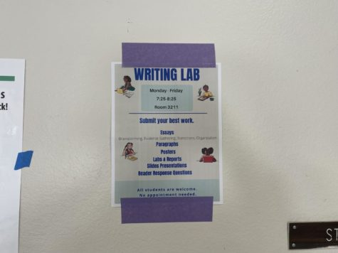 The writing lab poster is put up around the campus consisting of the information for the lab.